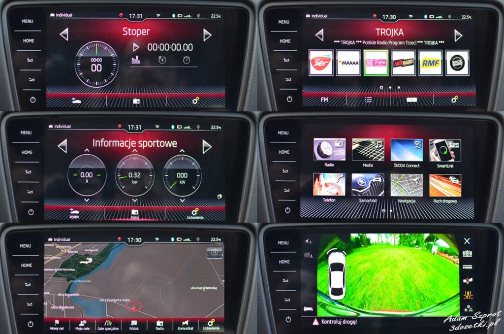 Skoda Connect , ekran środkowy w Skodzie