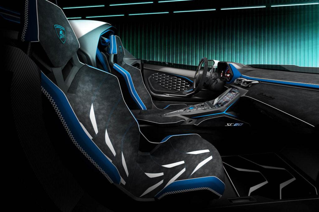Lamborghini SC20 szkic wnętrza