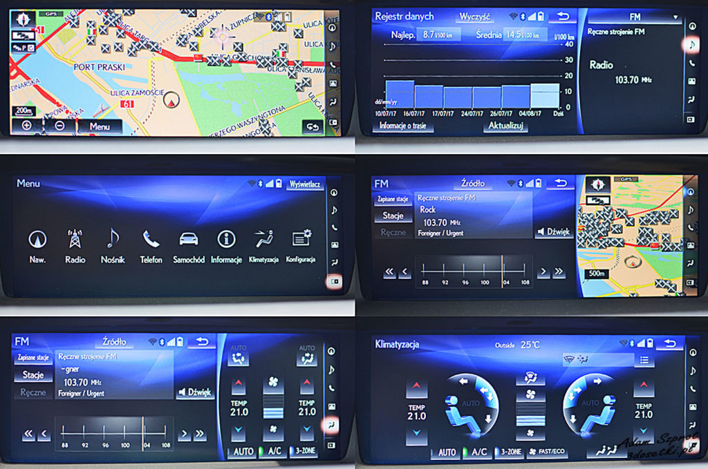 Ekran multimedialny Lexusa GS F
