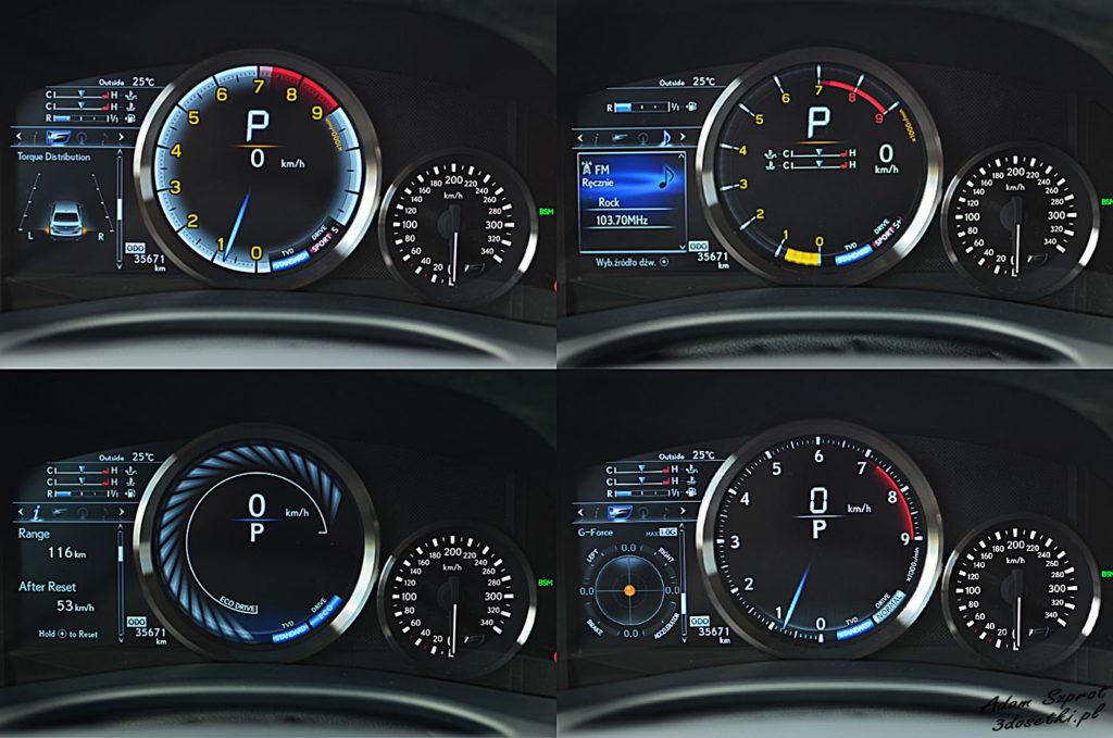 Lexus GS F test - zegary