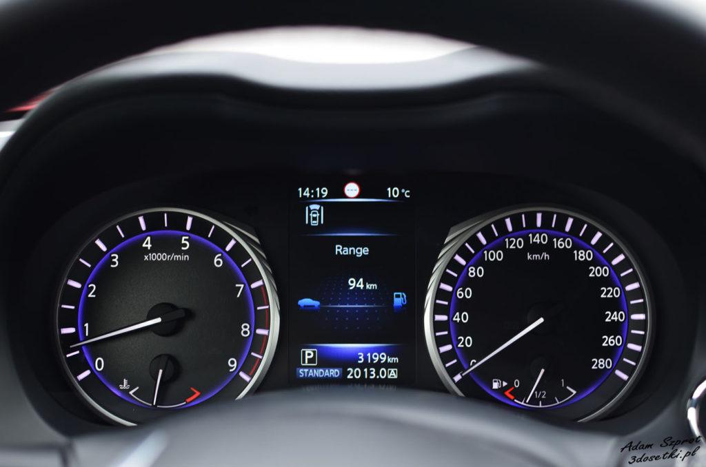 Zegary w ciekawym samochodzie opisanym na blogu motoryzacyjnym 3dosetki.pl