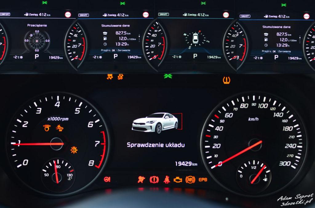 Zegary - Kia Stinger GT, testy super-samochodów